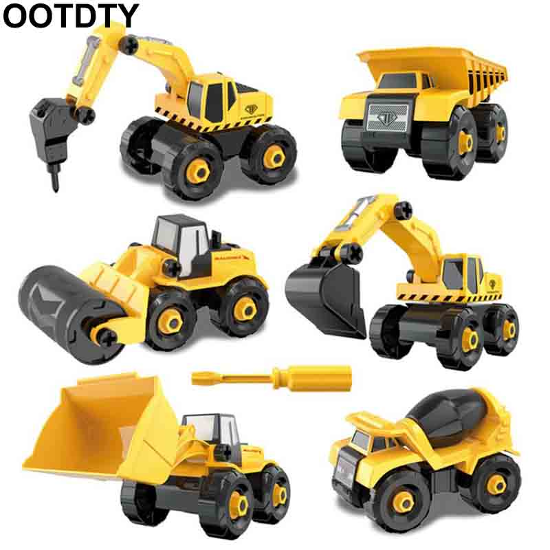 Disassembly Assembly Engineering Car Tractor Toy Truck Model Toy Vehicles Building Block Kids Toy Gift