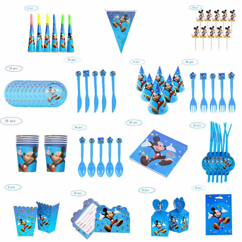 Mickey Mouse tema Fiesta taza con pajita placa globo servilletas palomitas de maíz caja Banner decoración de fiesta de cumpleaños niños Baby Shower suministros