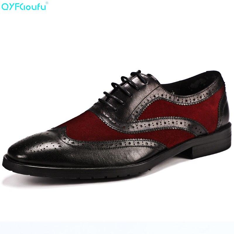 QYFCIOUFU sculpture hommes chaussures habillées qualité hommes Oxford chaussures à lacets marque hommes chaussures formelles en cuir véritable chaussures Brogue formelles