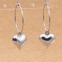 316 L Stainless Steel 3D Hearts Hollow Out Hoop Earrings With Charms Never Fade Allergy Free