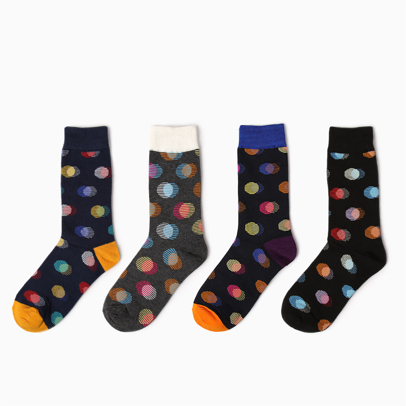 2017 new dots Retro personality Street colorful men cotton socks long sock size 39-44