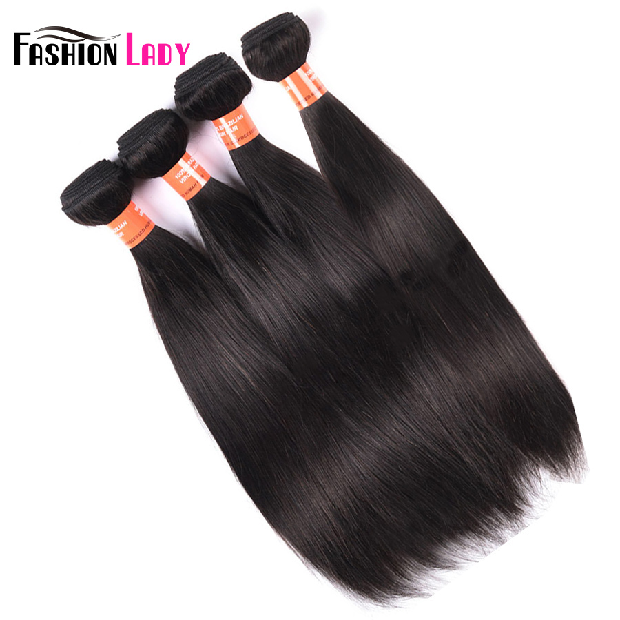 Fashion Lady Pre-Colored Raw Indian Hair Straight Human Hair Natural Color Human Hair Weaving 4 Pieces Non-Remy