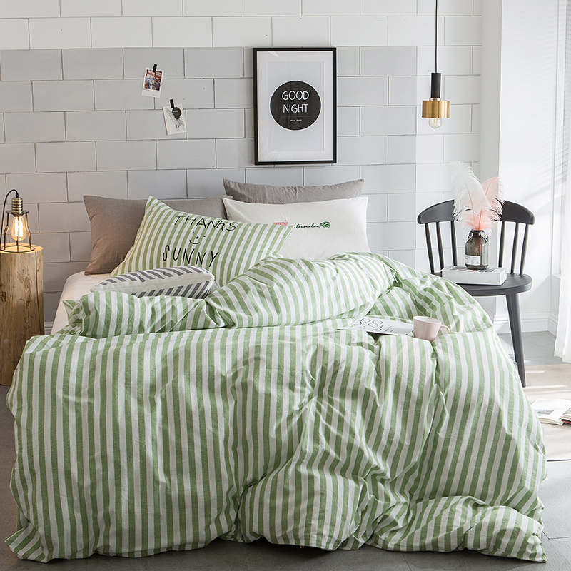 Duvet Cover Sets Queenking Size White And Green Stripes 100 Washed Cotton Cozy And Brief
