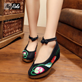 spring new 5cm wedge heels flower shoes women embroidery high heels shoes fashion sexy beautiful vintage sapato feminino pumps