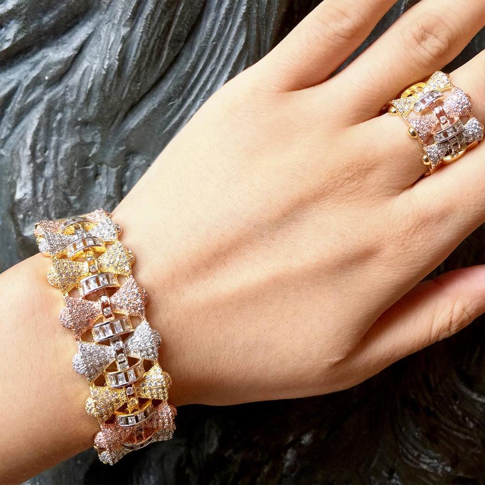 ModemAngel conception de marque spéciale cuivre ensembles de Bijoux femmes filles Bijoux de mariage large Bracelet de mode Bracelet anneau ensemble