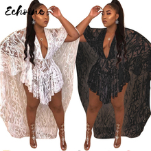 Echoine Sexy Deep V Neck See Through Lace Irregular Dress Women Black White Batwing Sleeve High Low Party Cloak Dresses