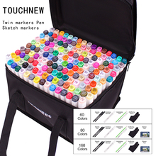 Touchfive 트윈 마커 펜 48/60/80/168 색상 마커 세트 알코올 스케치 펜 전문 예술과 공예 학교 아티스트 그리기