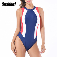 Sea Bbot 2017 Summer New Sexy OnePiece Swimwear Women Push Up Dress Halterneck Print Bathing Suits