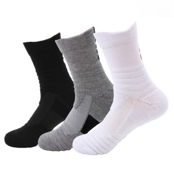1 Pair Men Thermal Sports Socks Cotton Cycling Basketball Running Winter Hiking Basket Tennis Ski Man Bike No Slip Skiing