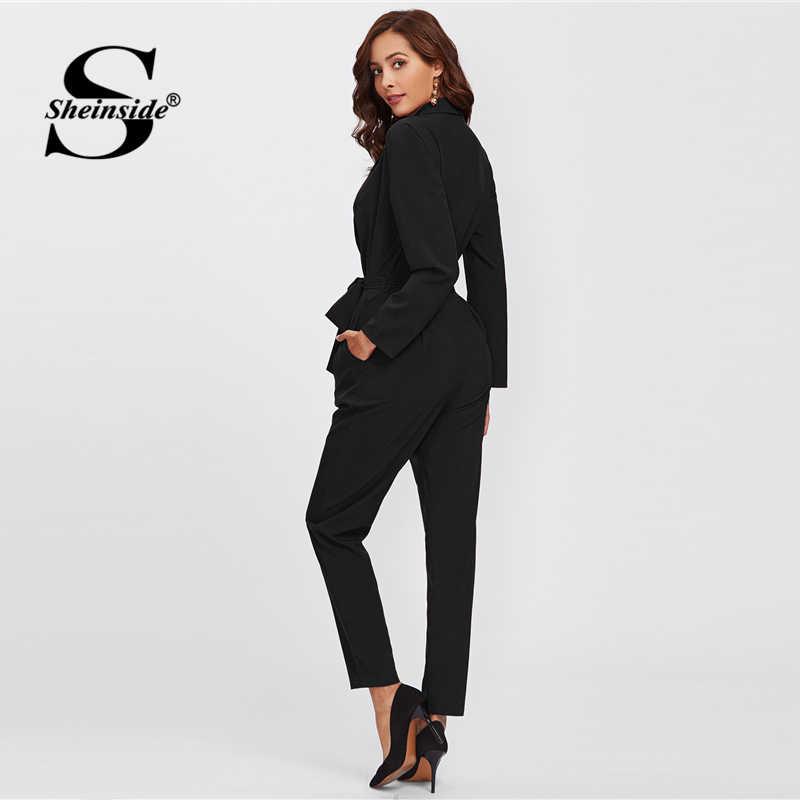 Sheinside простой черный офисный Дамский Спецодежда обтягивающий комбинезон и галстук детализированный с длинными рукавами карманы элегантный женский комбинезон
