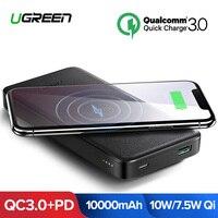 Ugreen 10000 mAh Ци Беспроводной Зарядное устройство Мощность банк 18 W USB PD Мощность банка для iPhone X 8 Macbook samsung S9 внешний Батарея повербанк