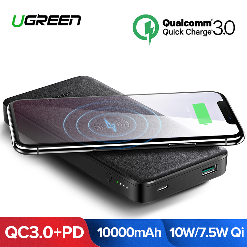 Ugreen 10000 mAh Qi Sem Fio Carregador Power Bank 18 W USB Powerbank Para iPhone X 8 Macbook Samsung S9 PD bateria externa Poverbank