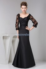 free shipping 2014 new design gown brides maid hot sale long sleeve v-neck pleat beach black Custom size/color evening dresses