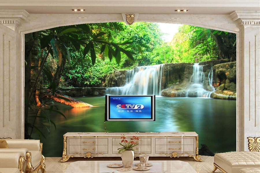 Custom large murals thailand parks waterfalls nature for Nature room wallpaper