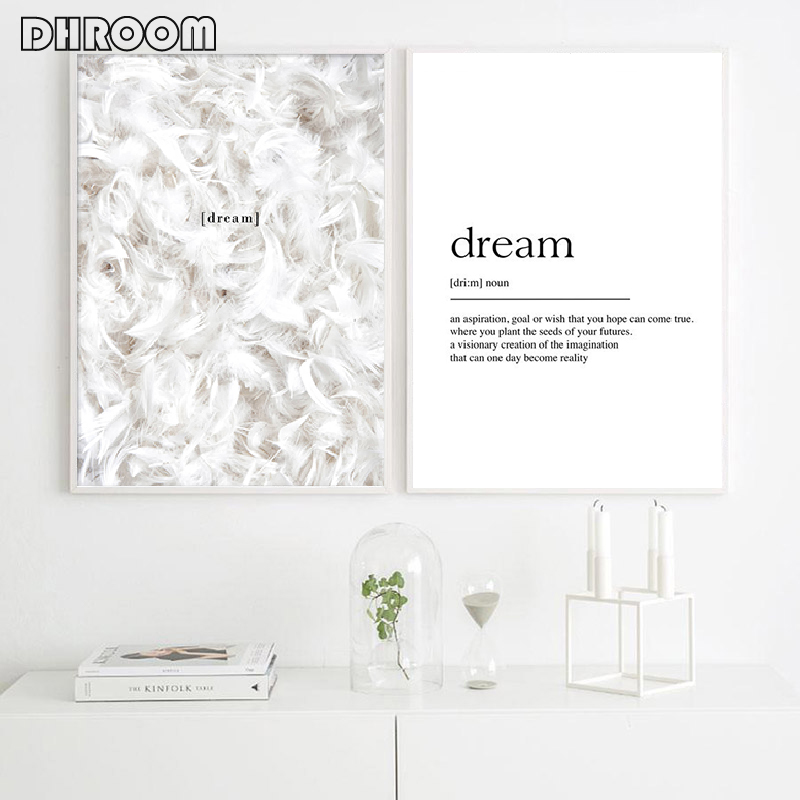 Scandinavian Posters Feathers Dream Definition Print Quote Canvas Painting Minimalist Wall Art Wall Pictures For Living Room