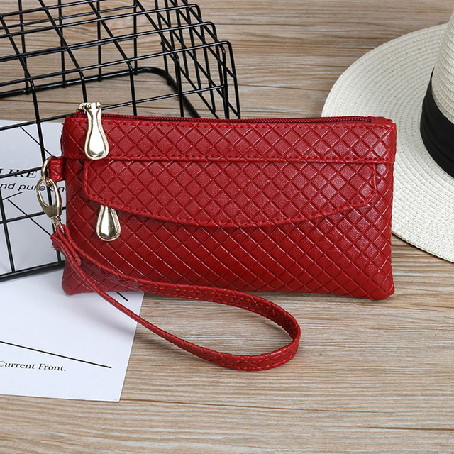 45ea86a38542 US $6.8 10% OFF|New Fashion Leather Women Wallet Vintage Plaid Printed  Ostrich Red Wallets Ladies' Long Clutches With Coin Purse Card Holder-in ...