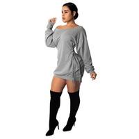 Women Eyelet Lace up Slim Hip Nightclub Dress 2018 Autumn Long Sleeve Sexy Off Shoulder Slash Neck Mini Bodycon Dress