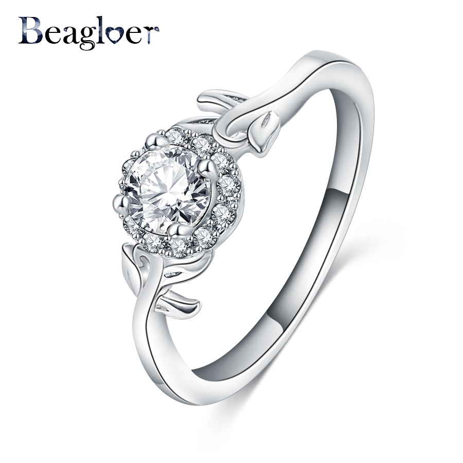 beagloer top selling concise crystal rings silver color created diamonds ring wedding engagement jewelry - Selling Wedding Ring