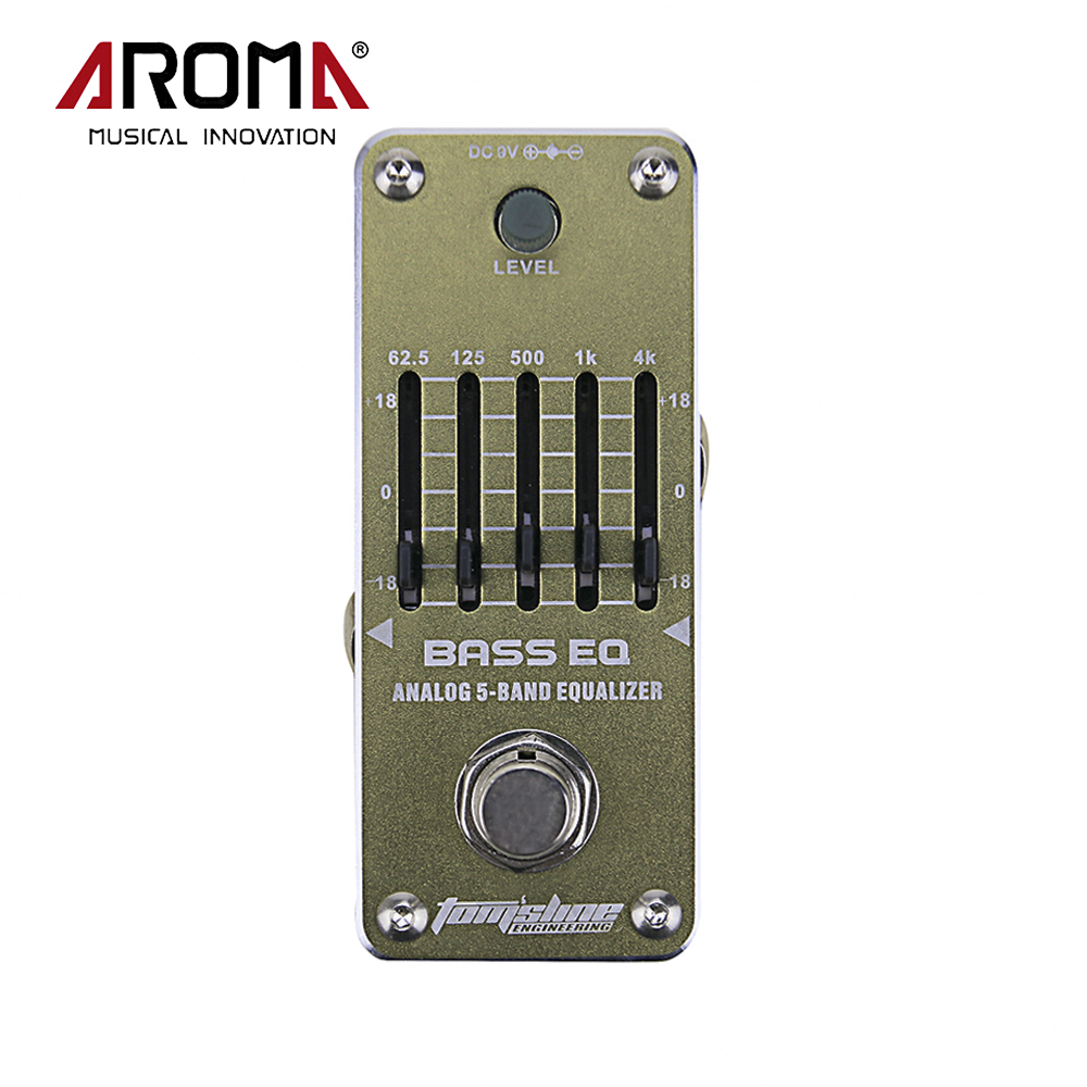AROMA AEB-3 Bass Analog 5-Band EQ Equalizer Electric Guitarra Guitar Effect Pedal With True Bypass aroma adr 3 dumbler amp simulator guitar effect pedal mini single pedals with true bypass aluminium alloy guitar accessories