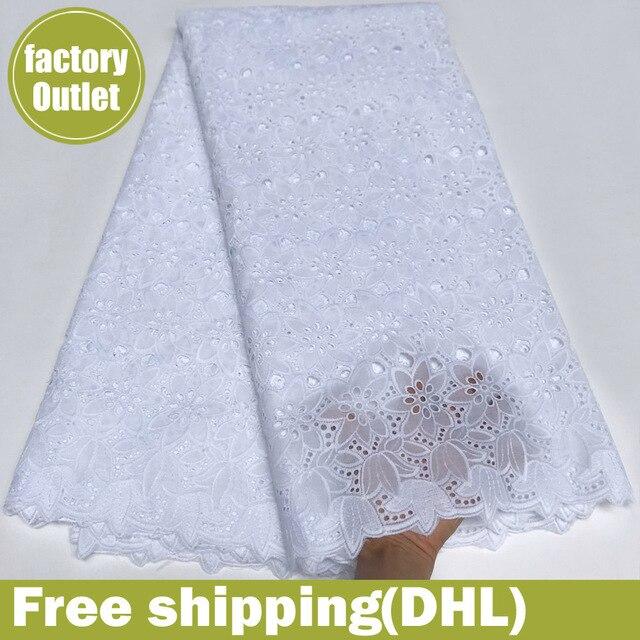 Nigeriano tessuti di pizzo svizzero del merletto del voile 100% cotone bianco come la neve a secco merletto africano del merletto del tessuto per abito da sposa 5 yard/ lotto 5817
