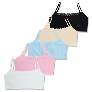 4pcs/lot Children's breast care girl bra 6-12 Years Hipster Cotton Teens Teenage Underwear summer Kids Lace vest Young