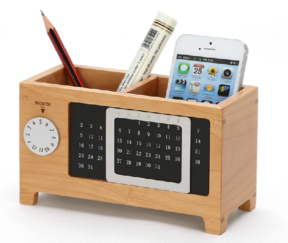 Creative new quality maple solid wood sundries storage box with calendar pen holder desktop table storage  sc 1 st  AliExpress.com & Creative new quality maple solid wood sundries storage box with ...