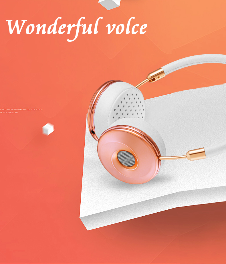 Liboer Headphones Wired On-ear Stereo Headphones for Mobile Phone Best Foldable Headset High Quality Rose Gold Headphone _04