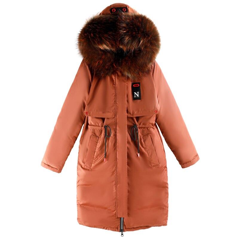 Avec 2018 gris blanc Marque Long Parka rouge Nouvelles Camperas De orange Manteau À Femmes D'hiver Chaud Veste Mode Manteaux Capuchon Noir Col Fourrure Femelle qgq0RrwAxZ
