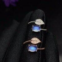 Uloveido Adjustable Rose Gold Color Natural Blue Moonstone Ring, Leaf Style, 925 Sterling Silver Wedding Jewellery, FJ377