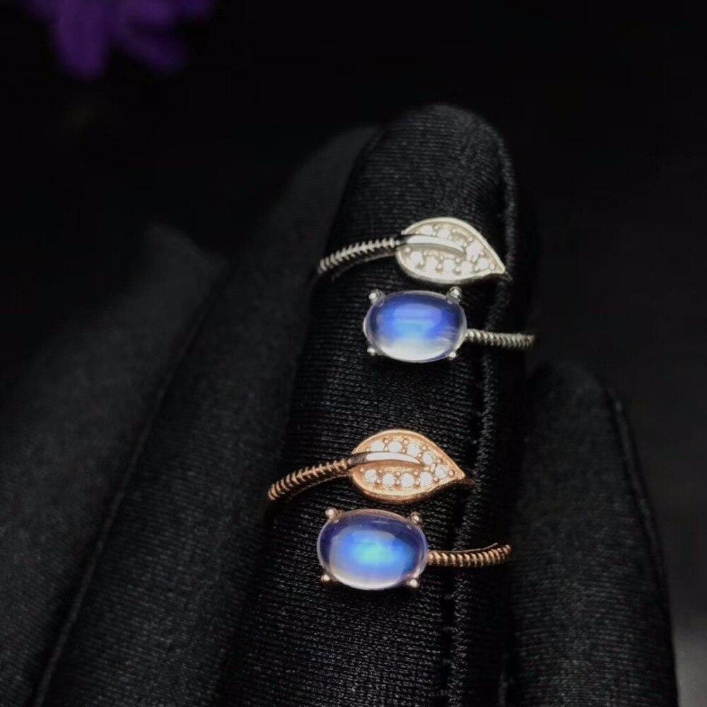 Uloveido Ajustável Rose Gold Cor Azul Anel de Pedra Da Lua Natural, Folha de Estilo, 925 Prata Esterlina Jóias de Casamento, FJ377