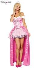Высокое качество сна Красота принцессы Авроры Косплэй костюм Мода Необычные взрослый Для женщин длинные Розовое платье костюм на Хэллоуин
