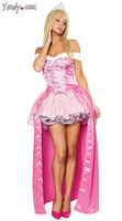 High Quality Sleeping Beauty Princess Aurora Cosplay Costume Fashion Fancy Adult Women Long Pink Dress Costume Halloween