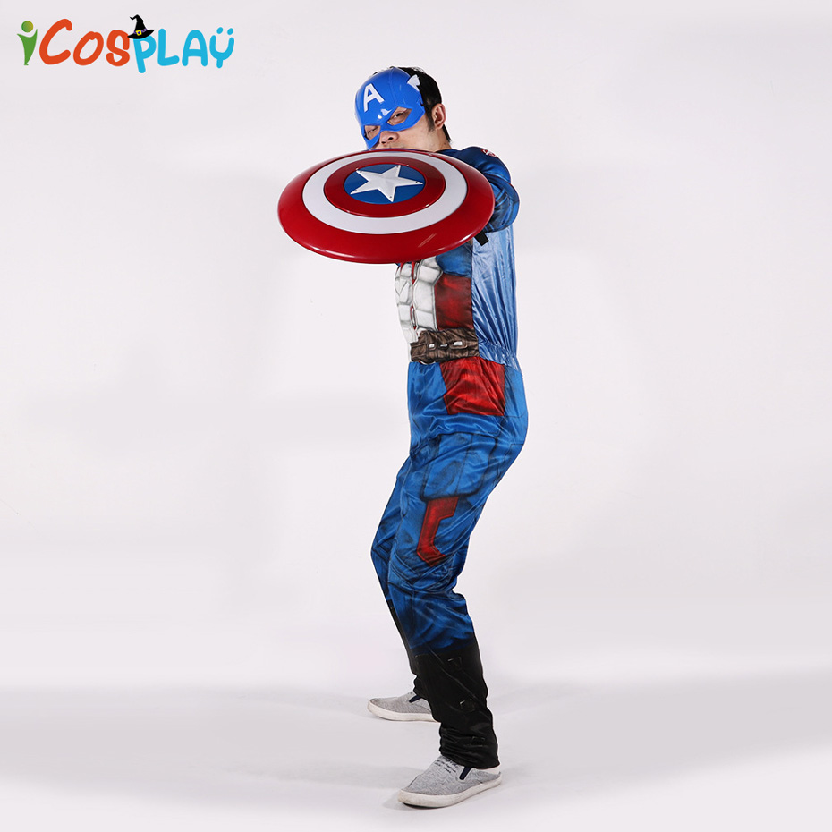 Captain America Adult Costume Avengers Heroes Infinite Wars US Team Battle Clothes Cosplay Halloween Purim