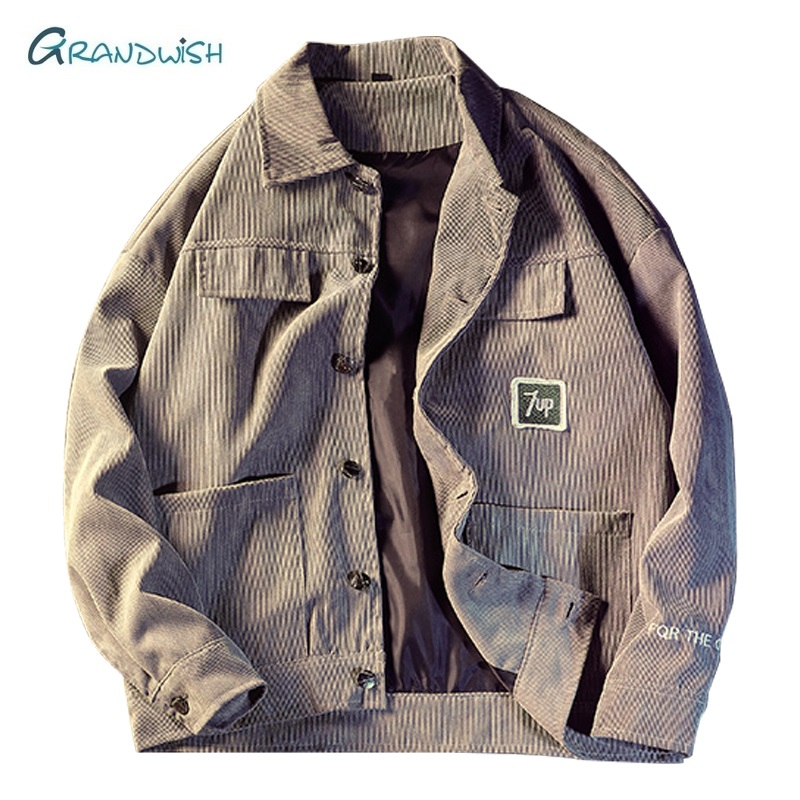 Grandwish Autumn Fashion Jacket Coat Men Corduroy Turn Down Collar Pockets Mens Jackets Casual Outerwear Windbreaker Male, DA804