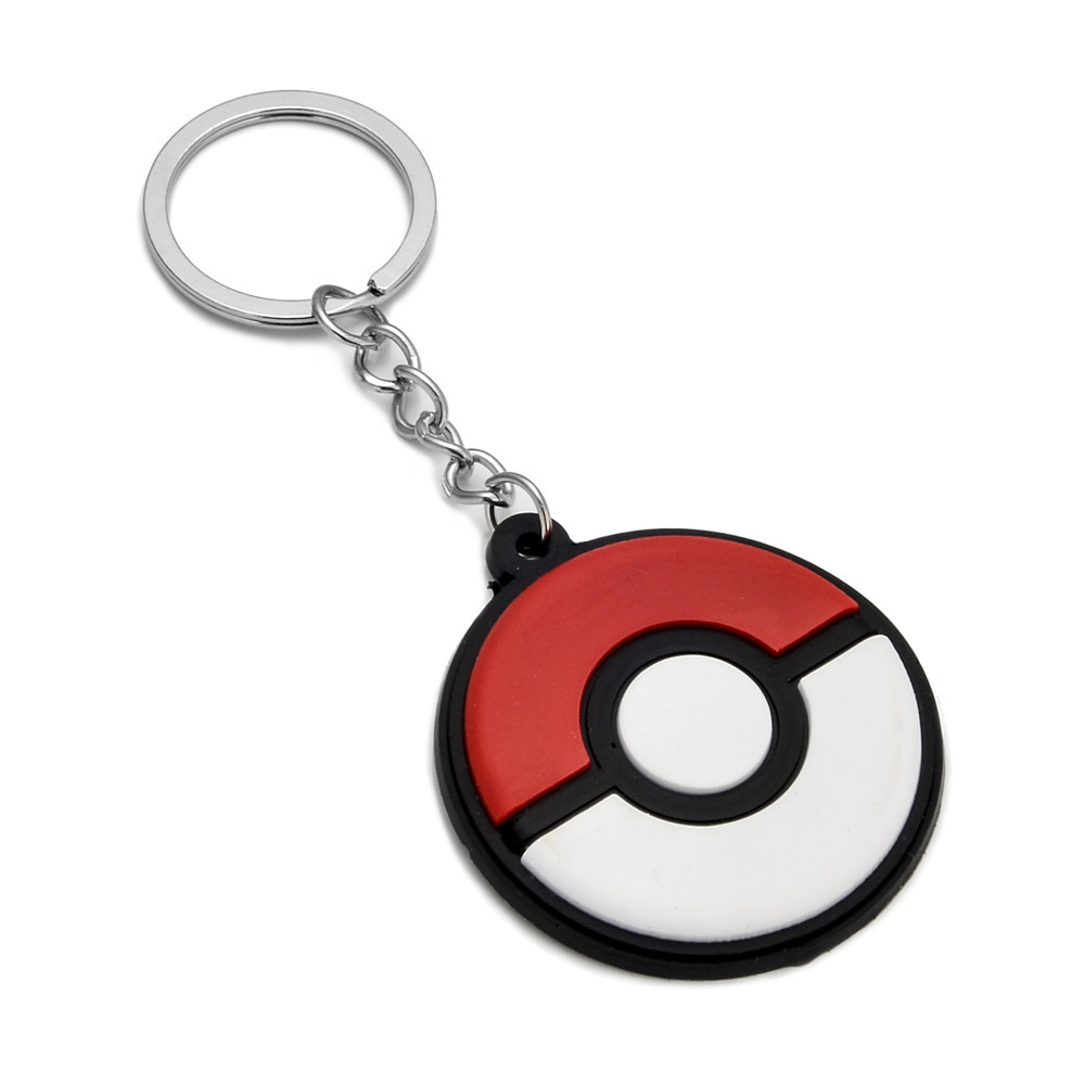 10 Pieces Pokemon Go Rubber Key Chain Cartoon Key Holder Keyring