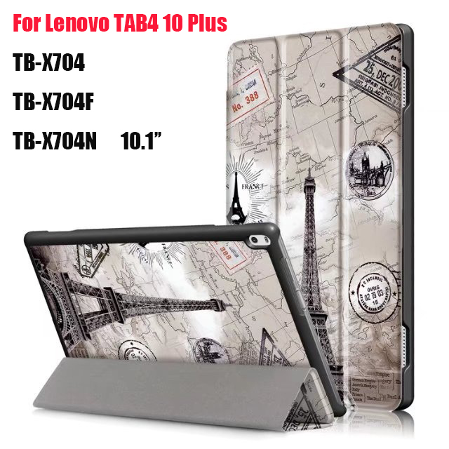 For Lenovo TAB 4 10 Plus TB-X704N TB-X704F Tablet Ultra Thin Magnet Smart Print PU Leather Cover Case with Auto Wake/Sleep+stylu ultra thin smart flip pu leather cover for lenovo tab 2 a10 30 70f x30f x30m 10 1 tablet case screen protector stylus pen