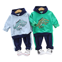 Spring Autumn Kids Cotton Clothes Sets Cartoon Baby Girls Boys Sports Hooded T-Shirt Pants 2Pcs/Sets Children Casual Tracksuits