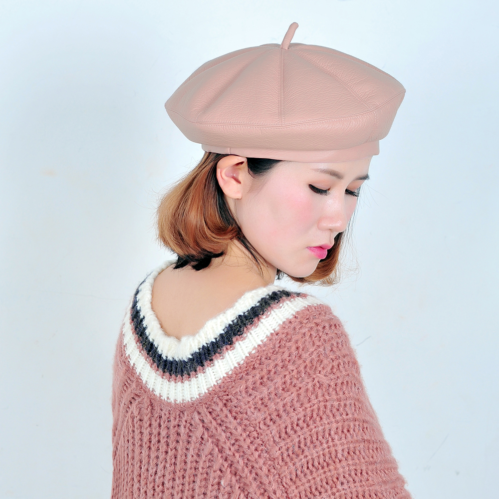 719ed410deeec joejerry Falt Leather Beret Women Winter Caps French Hat Artist Beret Pink  Black Painter Hat-in Berets from Apparel Accessories on Aliexpress.com