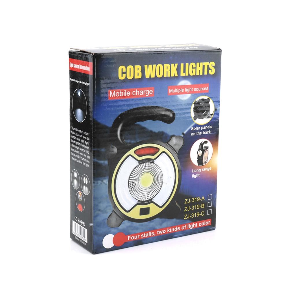BORUIT Solar Portable Light COB LED Flood Light USB Rechargeable Power Bank Outdoor Work Spot Lamps Camping Lanterns with 4-Mode