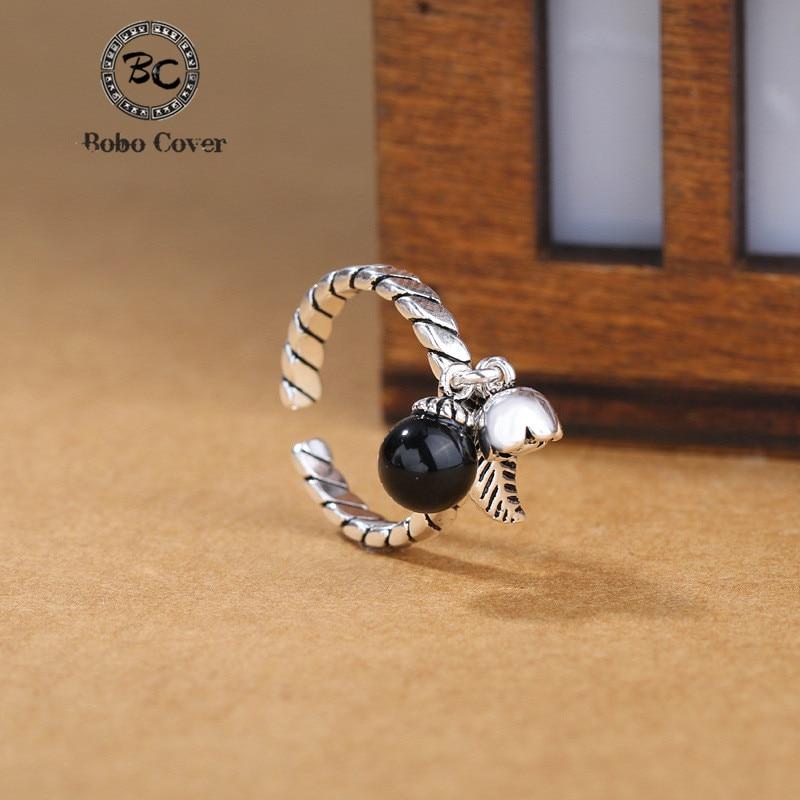 BoBo Cover Designer Silver Plated Christmas bells Ring Adjustable women Vintage bell statement open Finger Ring Christmas gift