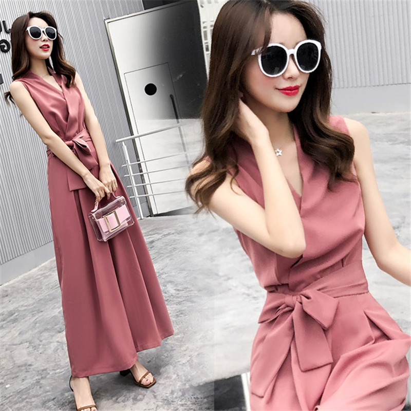 Women V-neck   Jumpsuits   Elegant Party Wide Leg   Jumpsuits   Casual Office Lady Playsuits With Belt Oversized