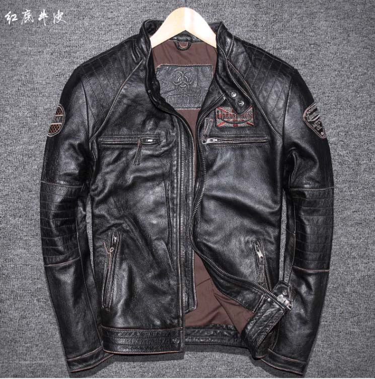 Coat Motorcycle Genuine-Cowhide-Leather Jacket Biker 6xl Fashion Short Letter with Badge