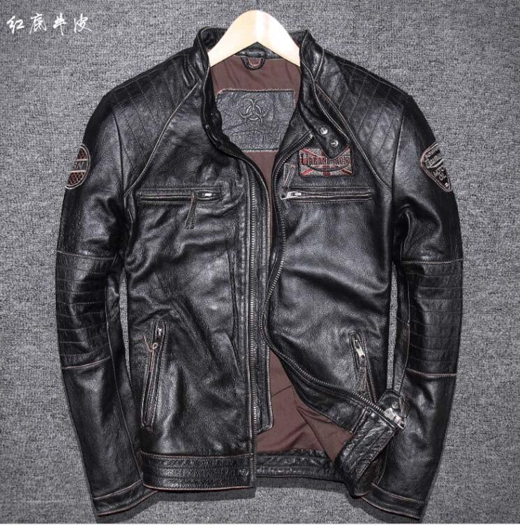 Veste courte cuir marron homme