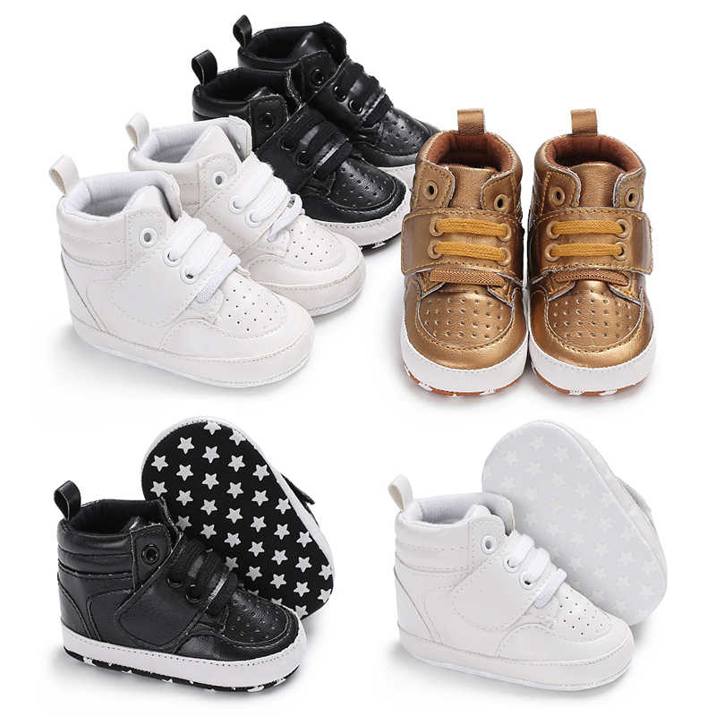 9b2fc7638 Newborn Kids Sneakers Baby Boys Shoes High Top Solid Soft Sole First Walker Infant  Toddler Antislip