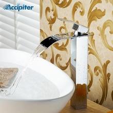 Абсолютно хромированный сосуд Водопад кран полированный на одно отверстие на бортике Ванная раковина кран Torneira Cozinha