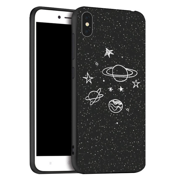 Space Moon Astronaut Case For iPhone XR XS Max X 11 Pro Cases Black Painted Phone Cover For iPhone 7 8 7Plus 8Plus 6S 6Plus Case