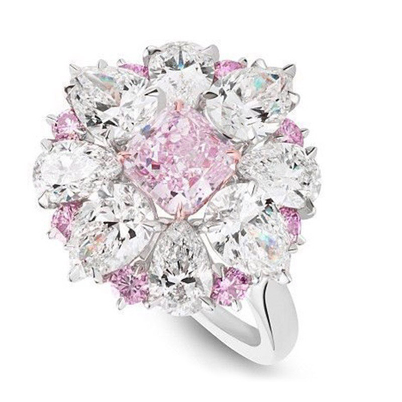 Ring Circle Finger Hoop Flower Shape Zircon For Women Lady Girl Bride Wedding Party CX17