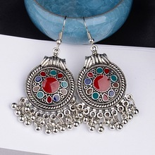 TopHanqi Indian Earring For Women Antique Ethnic Silver Color Small Bells WaterdropTassel Earrings Turkish Tribal Gypsy Jewelry