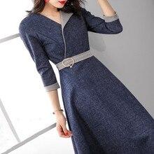 Azterumi 봄 새로운 2019 여성 패션 데님 드레스 여성 3 분기 슬리브 미디 드레스 OL 작업복 a 라인 드레스 네이비 블루