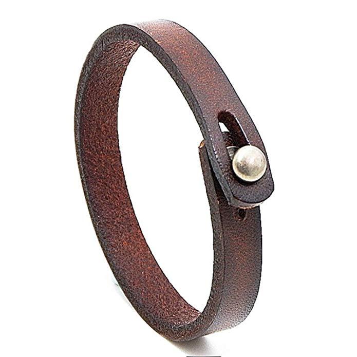 Браслет ручной работы унисекс из натуральной кожи, Регулируемый Браслет-манжета, мужской браслет в стиле панк из кожи